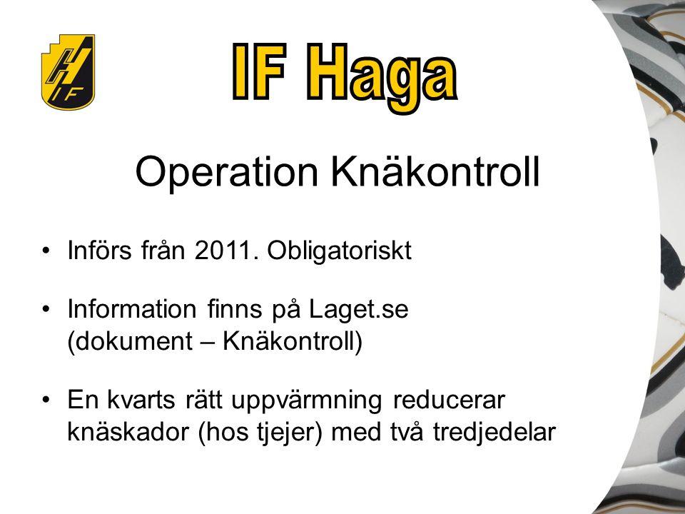 Operation Knäkontroll Införs från 2011. Obligatoriskt Information finns på Laget.se (dokument – Knäkontroll) En kvarts rätt uppvärmning reducerar knäs