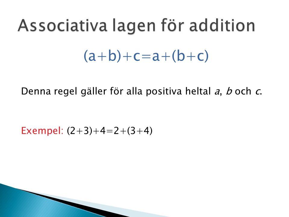 (a+b)+c=a+(b+c) Denna regel gäller för alla positiva heltal a, b och c. Exempel: (2+3)+4=2+(3+4)
