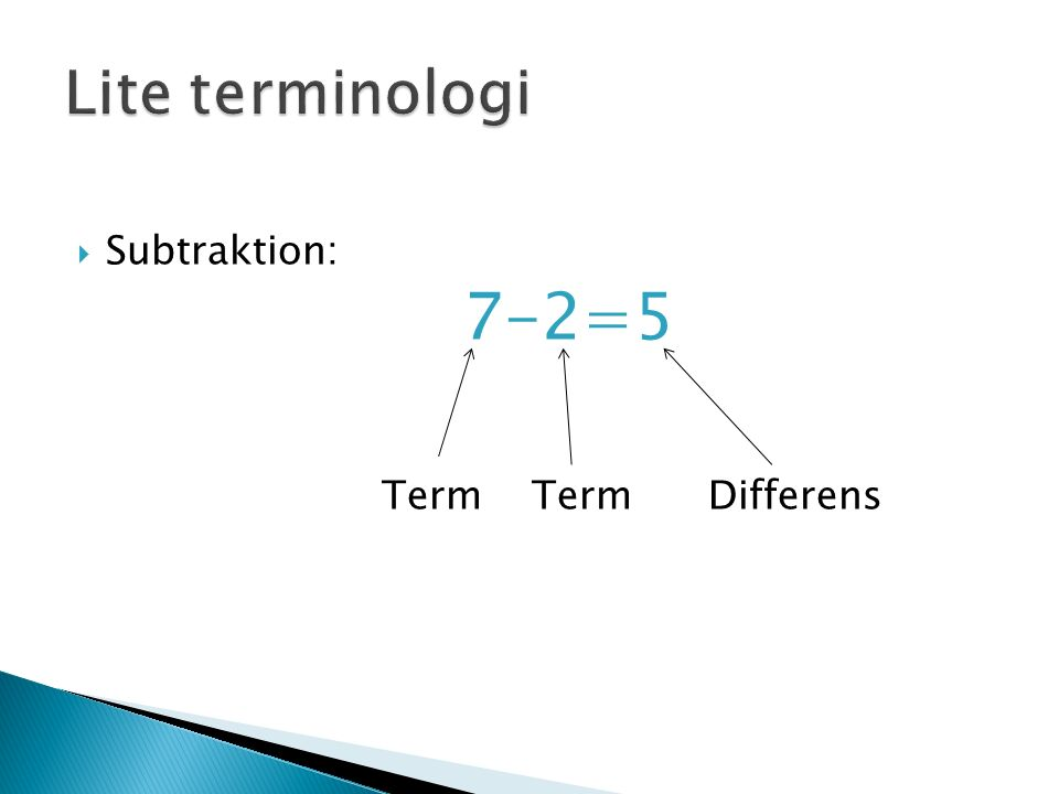  Subtraktion: 7-2=5 Term Term Differens