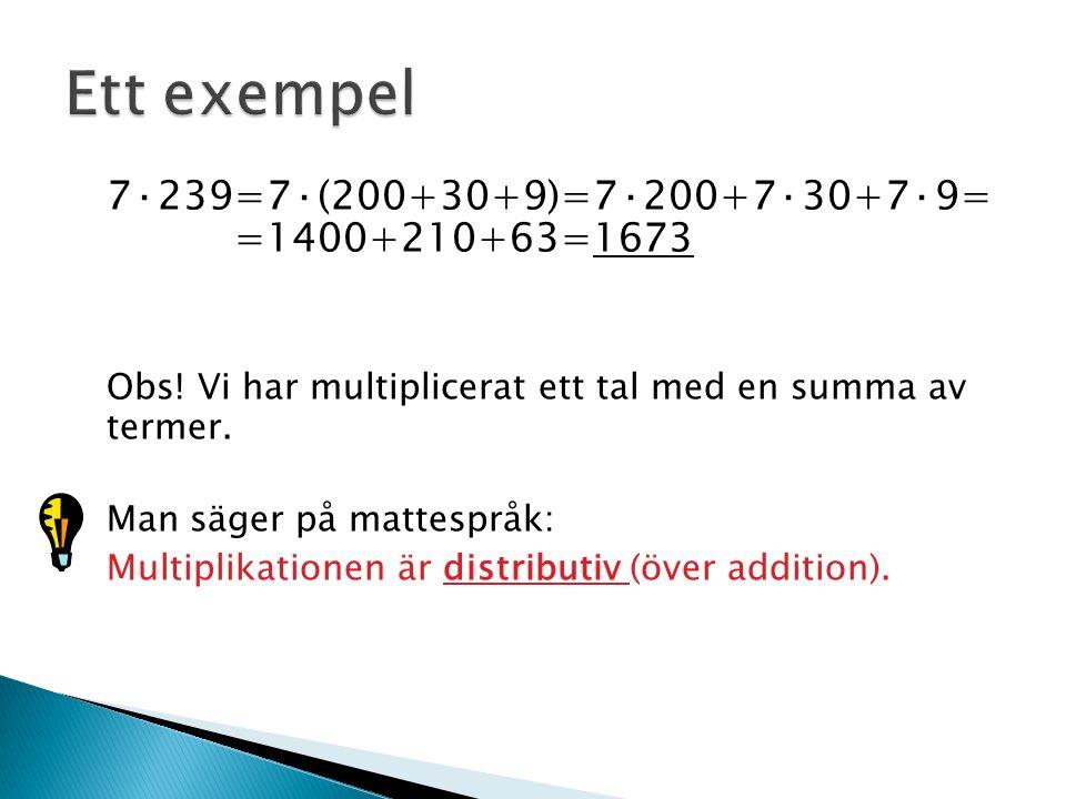 7·239=7·(200+30+9)=7·200+7·30+7·9= =1400+210+63=1673 Obs! Vi har multiplicerat ett tal med en summa av termer. Man säger på mattespråk: Multiplikation