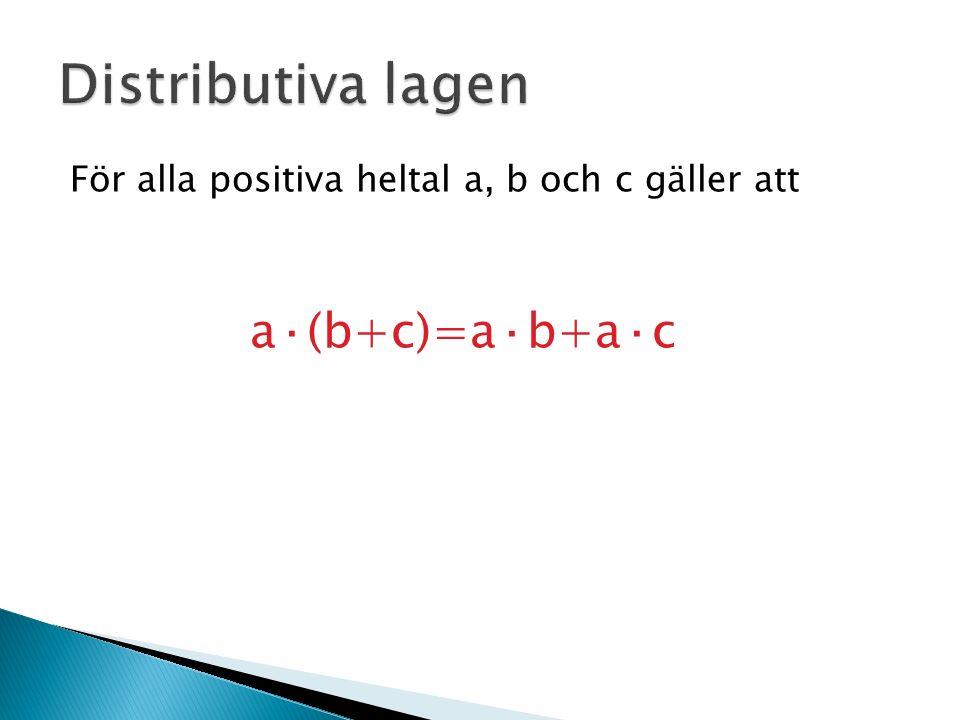 För alla positiva heltal a, b och c gäller att a·(b+c)=a·b+a·c