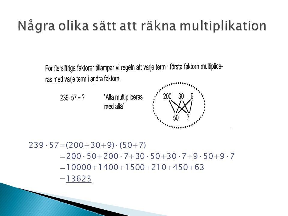 239·57=(200+30+9)·(50+7) =200·50+200·7+30·50+30·7+9·50+9·7 =10000+1400+1500+210+450+63 =13623