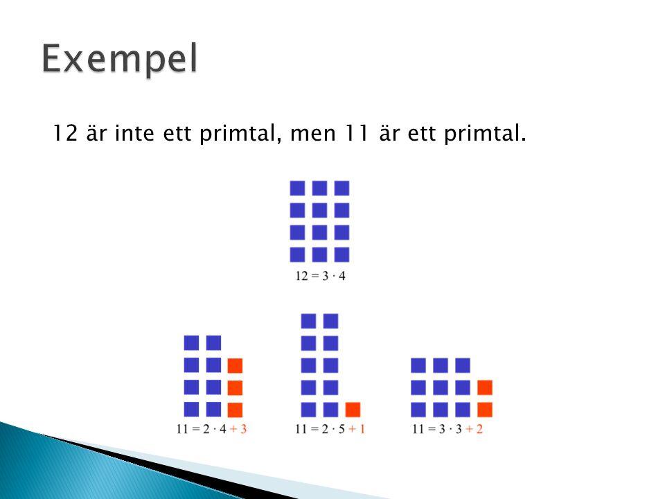 12 är inte ett primtal, men 11 är ett primtal.