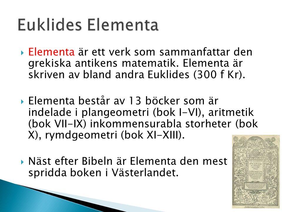  Elementa är ett verk som sammanfattar den grekiska antikens matematik. Elementa är skriven av bland andra Euklides (300 f Kr).  Elementa består av