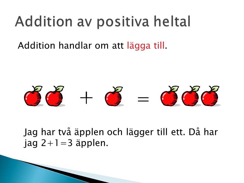 Addition handlar om att lägga till. Jag har två äpplen och lägger till ett. Då har jag 2+1=3 äpplen. ╀ =