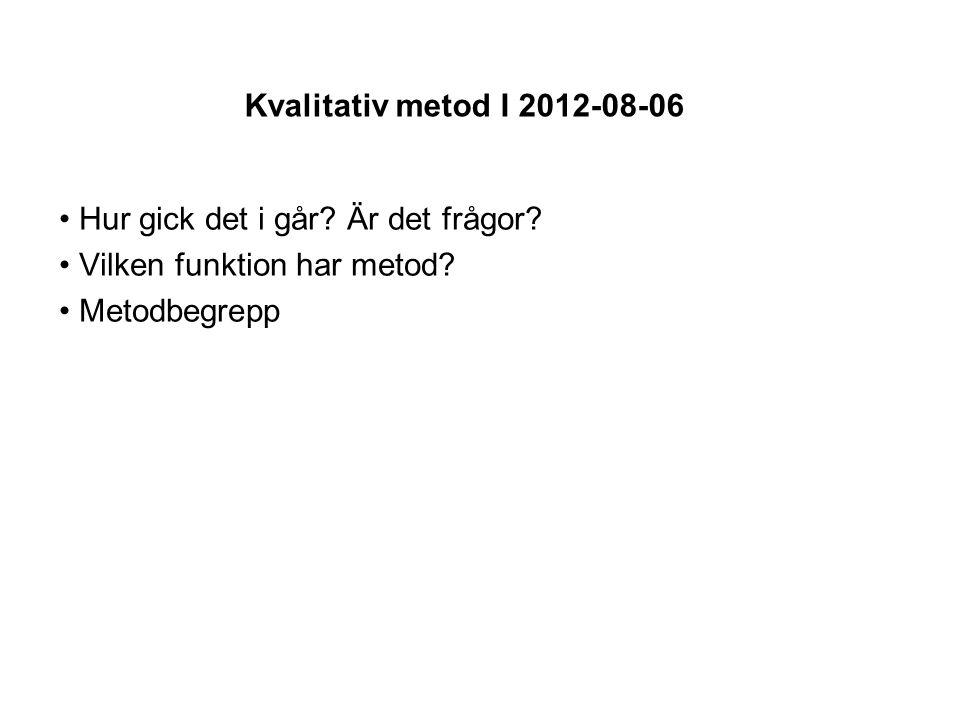 Kvalitativ metod I 2012-08-06 Hur gick det i går. Är det frågor.