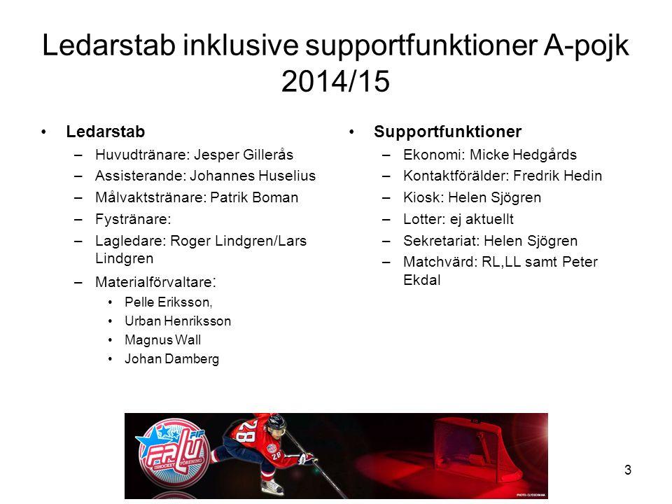 Ledarstab inklusive supportfunktioner A-pojk 2014/15 Ledarstab –Huvudtränare: Jesper Gillerås –Assisterande: Johannes Huselius –Målvaktstränare: Patri