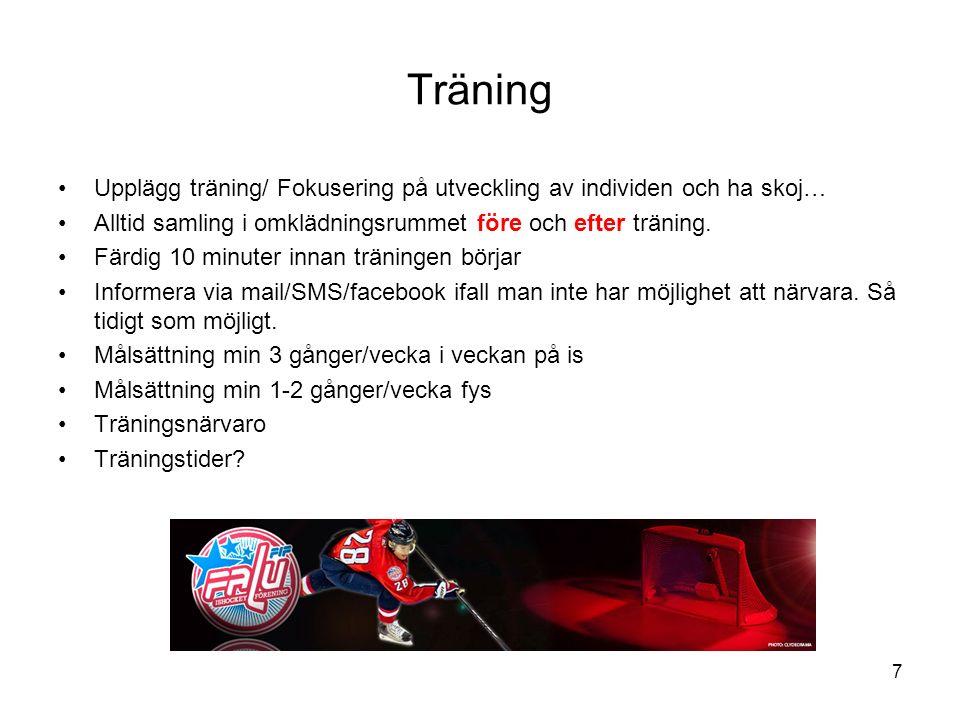 Träning Upplägg träning/ Fokusering på utveckling av individen och ha skoj… Alltid samling i omklädningsrummet före och efter träning. Färdig 10 minut