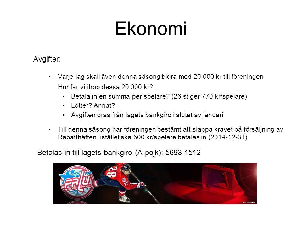 Ekonomi Tillgångar, intäkter och utgifter: ▪Tillgång på lagets (A-pojk) bankgiro per 2014-08-08: 8 268 kr 10 291 kr från Team 00.