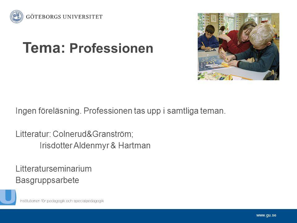 www.gu.se Ingen föreläsning.Professionen tas upp i samtliga teman.