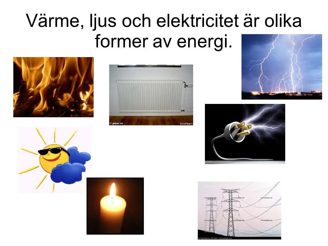 Värme, ljus och elektricitet är olika former av energi.