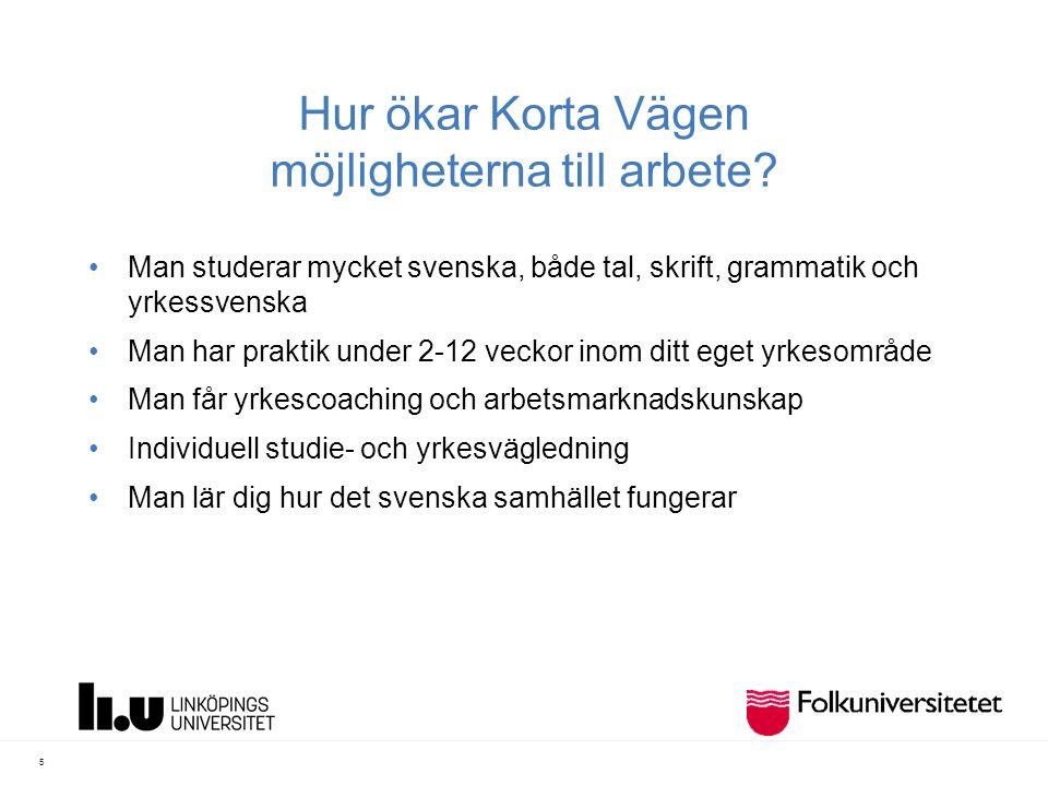 Hur ökar Korta Vägen möjligheterna till arbete? Man studerar mycket svenska, både tal, skrift, grammatik och yrkessvenska Man har praktik under 2-12 v