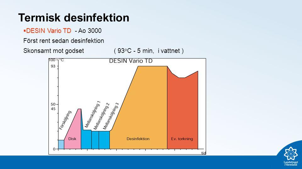 Termisk desinfektion  DESIN Vario TD  DESIN Vario TD - Ao 3000 Först rent sedan desinfektion Skonsamt mot godset( 93 o C - 5 min, i vattnet )