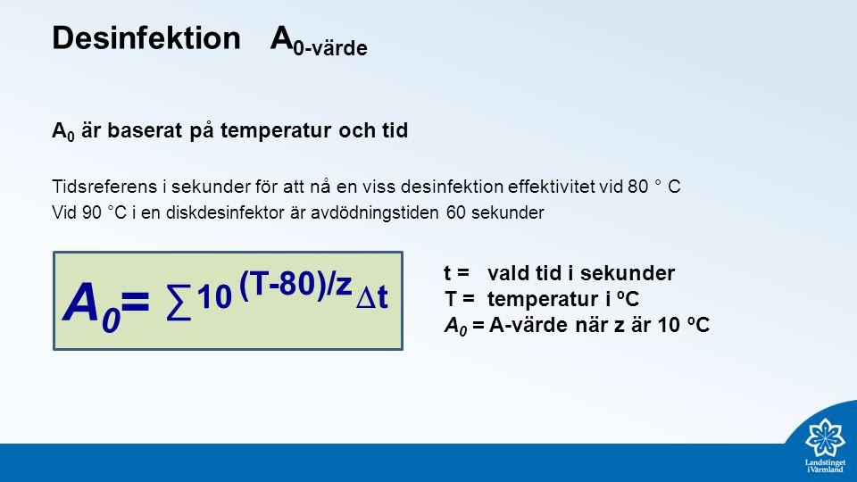 Desinfektion A 0-värde A 0 är baserat på temperatur och tid Tidsreferens i sekunder för att nå en viss desinfektion effektivitet vid 80 ° C Vid 90 °C i en diskdesinfektor är avdödningstiden 60 sekunder ∑ 10 A0=A0= (T-80)/z tt t = vald tid i sekunder T = temperatur i ºC A 0 = A-värde när z är 10 ºC