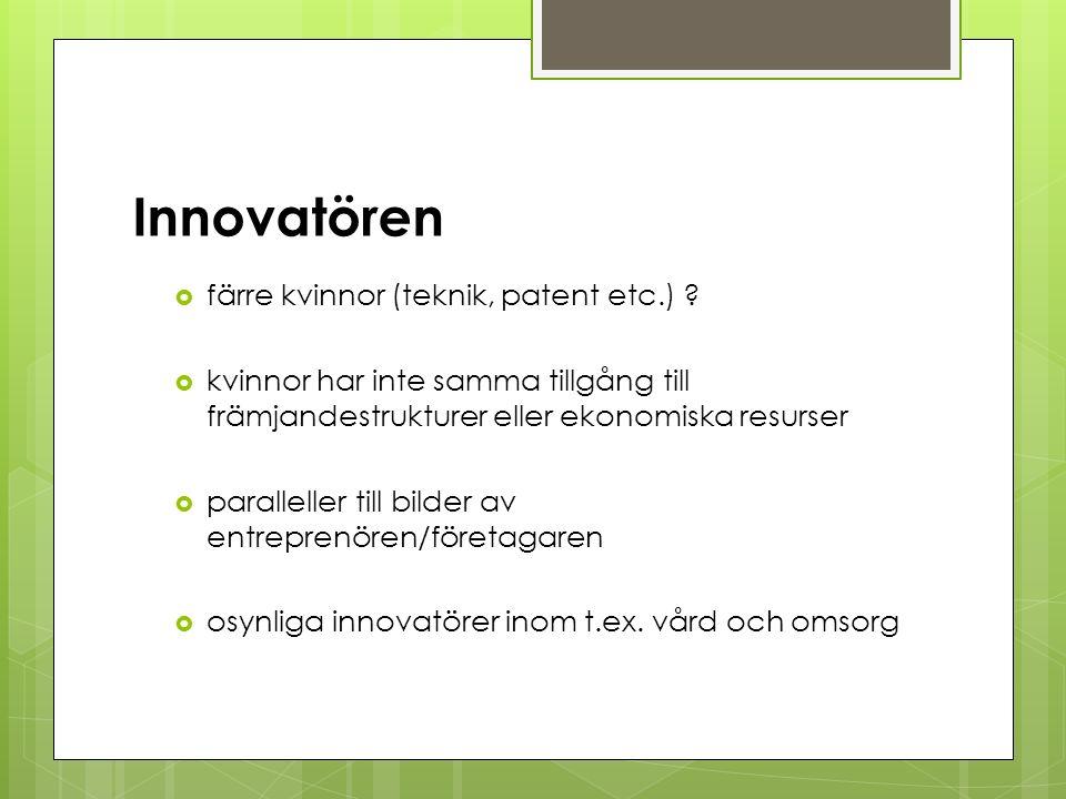 Innovatören  färre kvinnor (teknik, patent etc.) .
