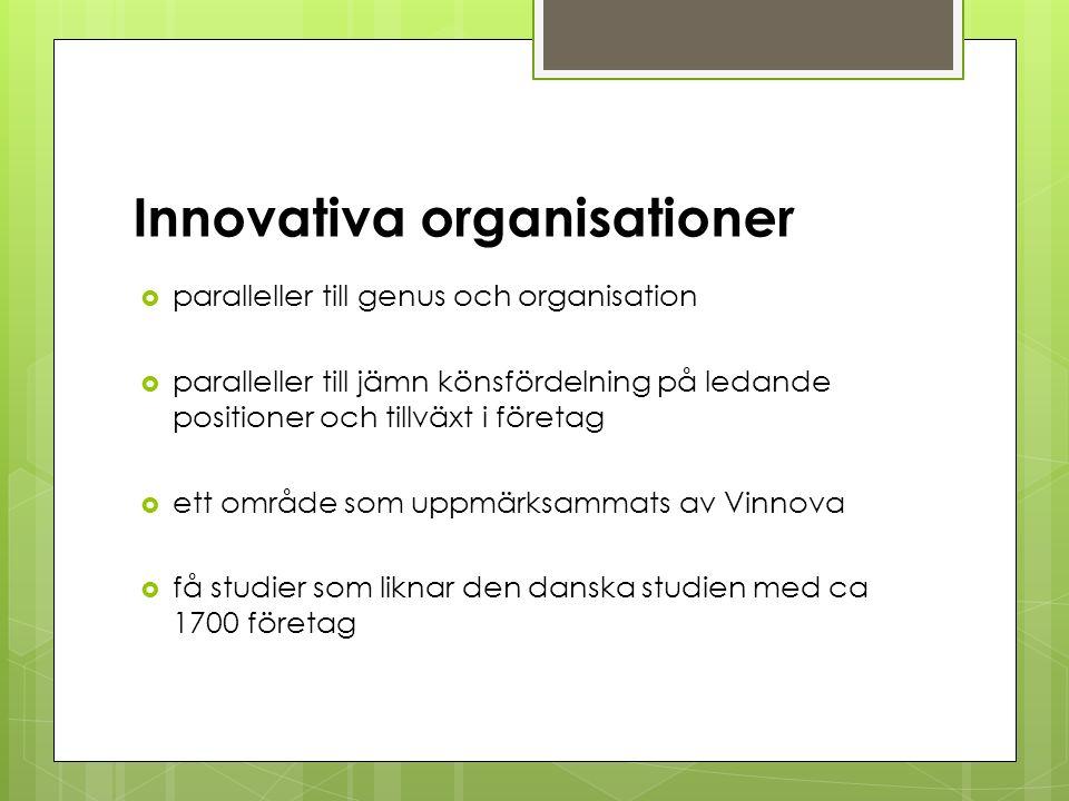 Innovativa organisationer  paralleller till genus och organisation  paralleller till jämn könsfördelning på ledande positioner och tillväxt i företag  ett område som uppmärksammats av Vinnova  få studier som liknar den danska studien med ca 1700 företag