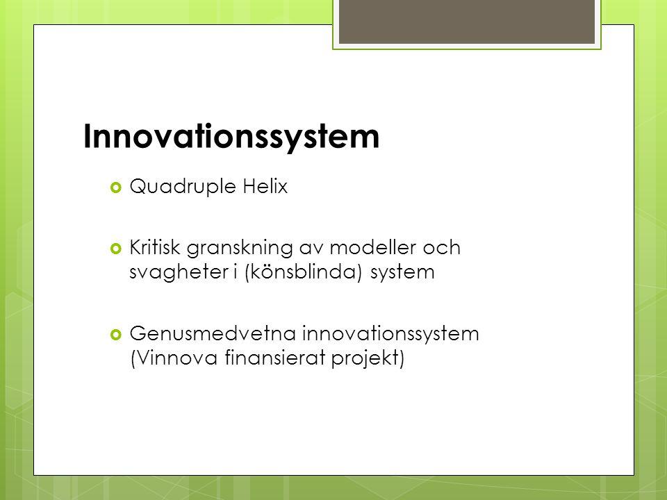 Innovationssystem  Quadruple Helix  Kritisk granskning av modeller och svagheter i (könsblinda) system  Genusmedvetna innovationssystem (Vinnova finansierat projekt)