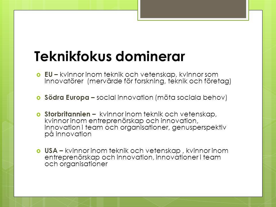Teknikfokus dominerar  EU – kvinnor inom teknik och vetenskap, kvinnor som innovatörer (mervärde för forskning, teknik och företag)  Södra Europa – social innovation (möta sociala behov)  Storbritannien – kvinnor inom teknik och vetenskap, kvinnor inom entreprenörskap och innovation, innovation i team och organisationer, genusperspektiv på innovation  USA – kvinnor inom teknik och vetenskap, kvinnor inom entreprenörskap och innovation, innovationer i team och organisationer