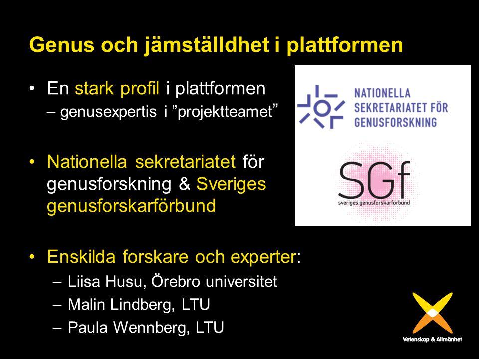 """Genus och jämställdhet i plattformen En stark profil i plattformen – genusexpertis i """"projektteamet """" Nationella sekretariatet för genusforskning & Sv"""