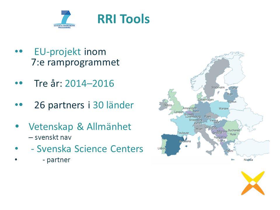  EU-projekt inom 7:e ramprogrammet  Tre år: 2014–2016  26 partners i 30 länder  Vetenskap & Allmänhet – svenskt nav - Svenska Science Centers -