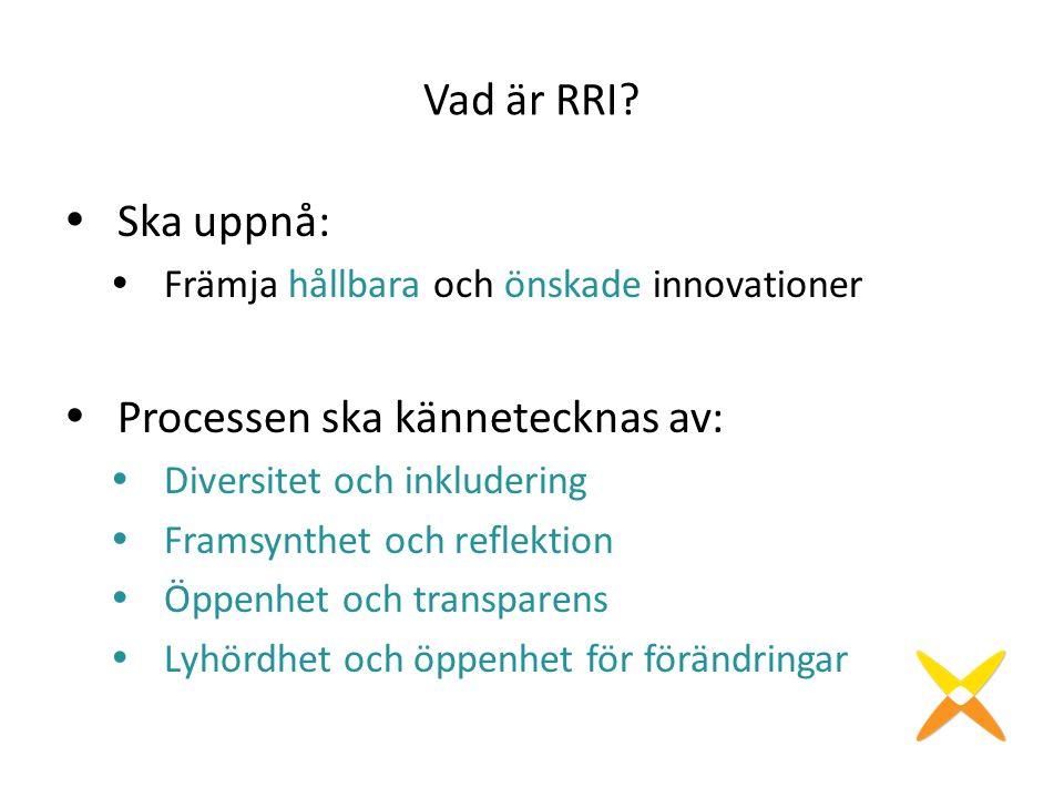 Vad är RRI?  Ska uppnå:  Främja hållbara och önskade innovationer  Processen ska kännetecknas av:  Diversitet och inkludering  Framsynthet och re