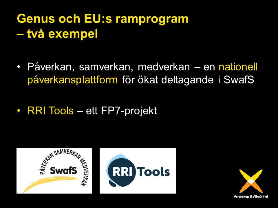 Genus och EU:s ramprogram – två exempel Påverkan, samverkan, medverkan – en nationell påverkansplattform för ökat deltagande i SwafS RRI Tools – ett F