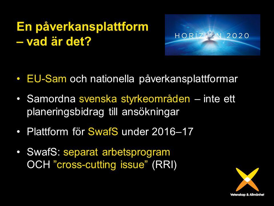En påverkansplattform – vad är det? EU-Sam och nationella påverkansplattformar Samordna svenska styrkeområden – inte ett planeringsbidrag till ansökni