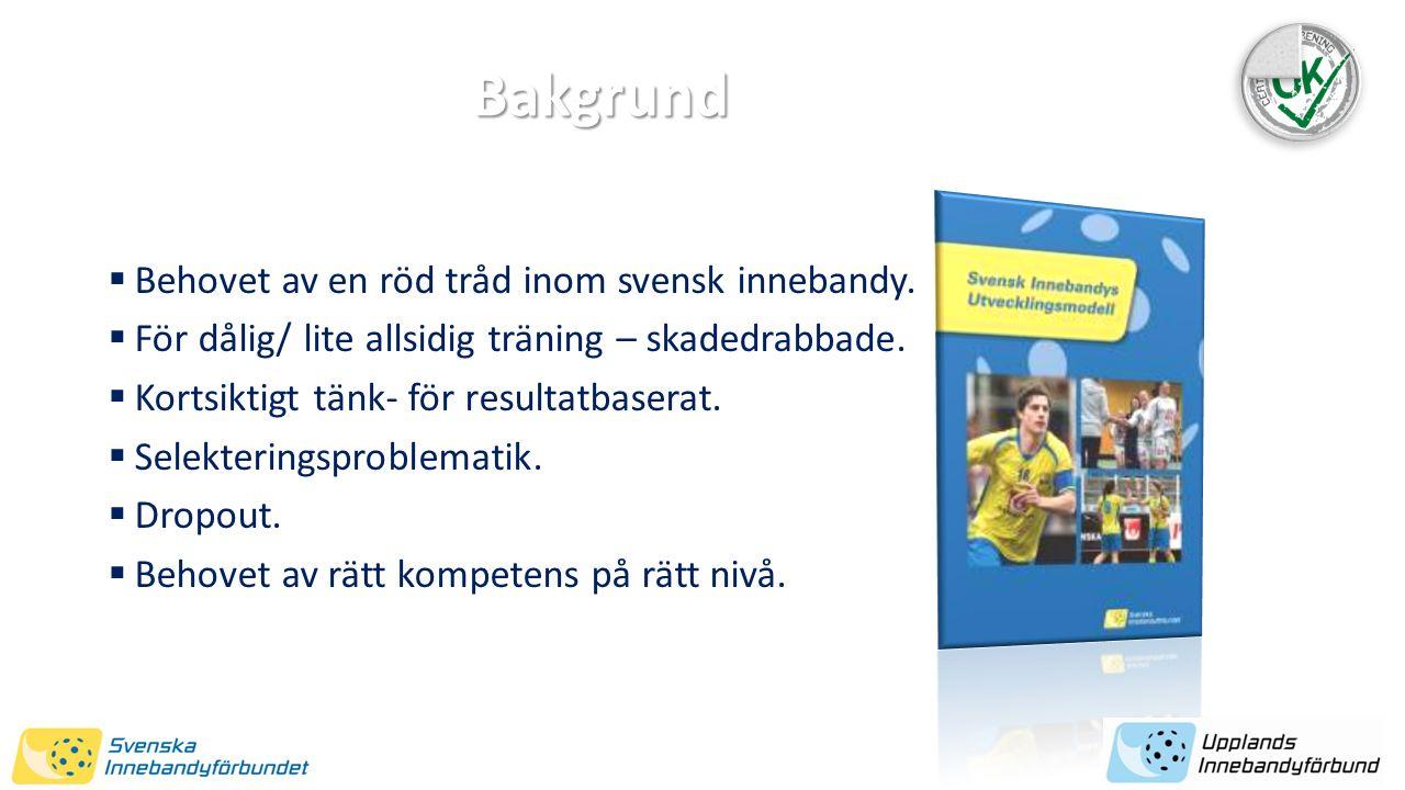  Behovet av en röd tråd inom svensk innebandy.  För dålig/ lite allsidig träning – skadedrabbade.  Kortsiktigt tänk- för resultatbaserat.  Selekte
