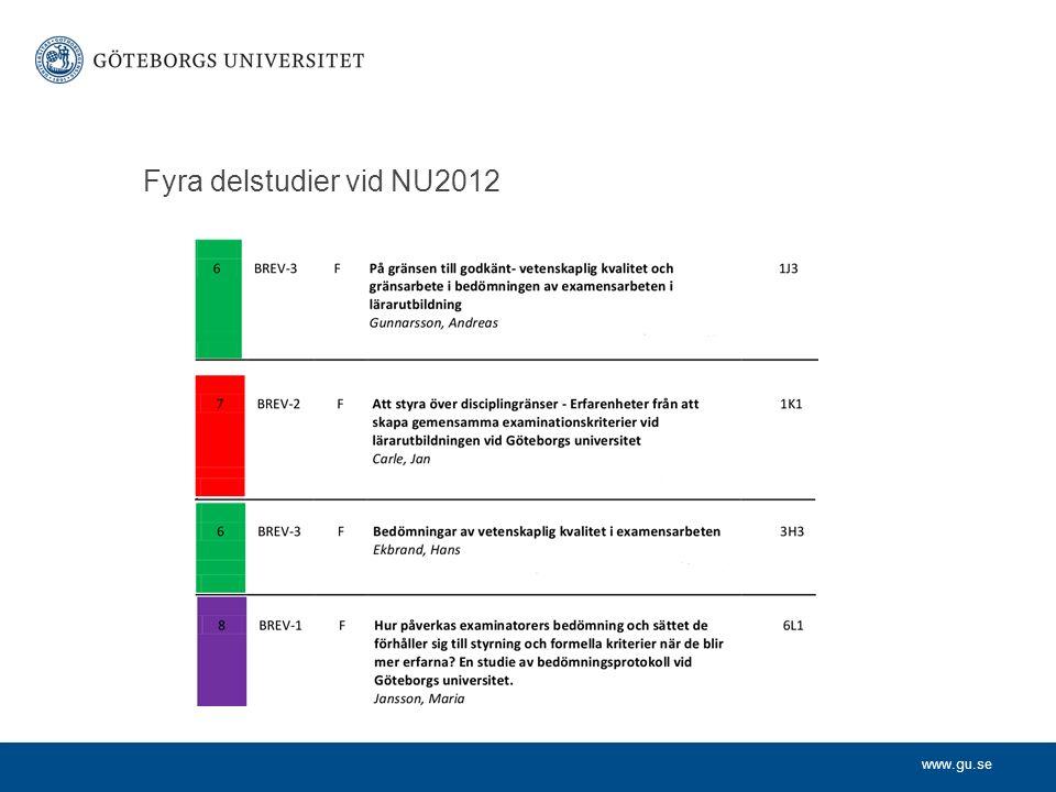 www.gu.se Fyra delstudier vid NU2012