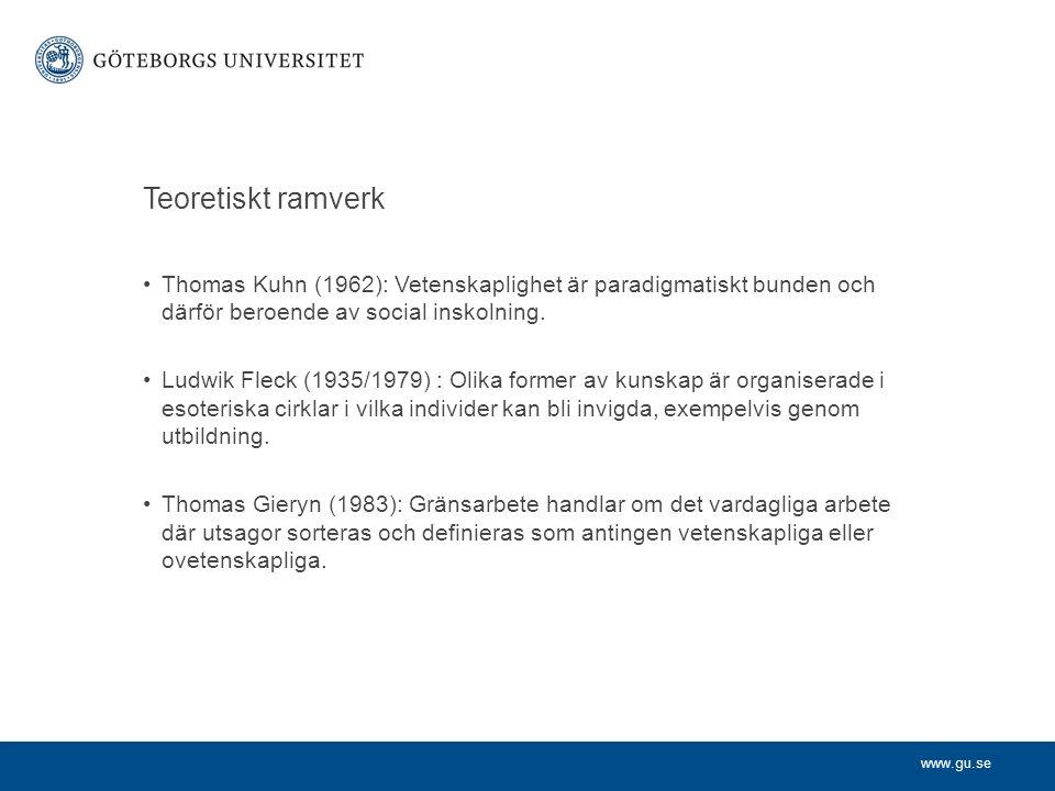 www.gu.se Teoretiskt ramverk Thomas Kuhn (1962): Vetenskaplighet är paradigmatiskt bunden och därför beroende av social inskolning. Ludwik Fleck (1935