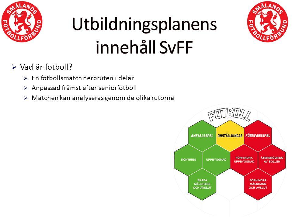 Häftet består av:  Teori från SvFF för Spelarutbildningsplanen allmänt och för aktuell nivå  Teori i fotboll är enkelt och häftets upplägg från SmFF  4-5 förslag på tematräningar enligt rutorna i fotboll är enkelt  Varje träning bygger på; uppvärmning – två spelövningar där man väljer en per träning – spel  Målvaktsövningar som genomförs i början av träningen för målvakterna  Schema för dynamisk rörlighet som genomförs som del av uppvärmningen i varje träning  Schema för knäkontroll (skadeförebyggande träning) som genomförs i samband med träning minst 1 gång i veckan  Handledning för hur matchen kan hanteras  OBS.
