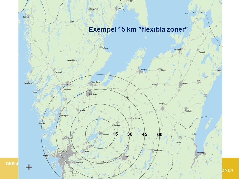 DKR dialog hösten 2013 om Pris- och sortimentstrategi för Västtrafik Bild 12 Exempel 15 km flexibla zoner
