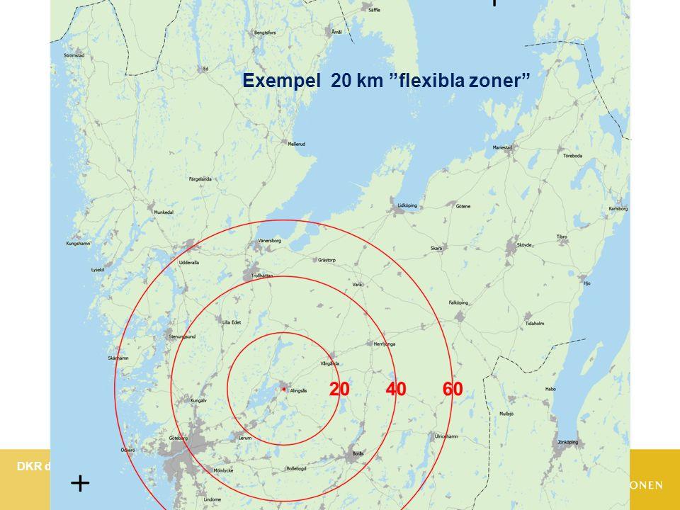 DKR dialog hösten 2013 om Pris- och sortimentstrategi för Västtrafik Bild 13 Exempel 20 km flexibla zoner