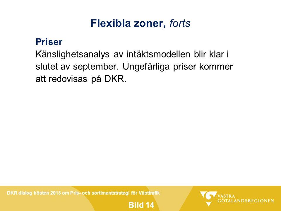 DKR dialog hösten 2013 om Pris- och sortimentstrategi för Västtrafik Bild 14 Flexibla zoner, forts Priser Känslighetsanalys av intäktsmodellen blir klar i slutet av september.