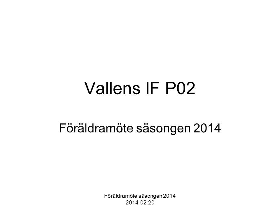 Föräldramöte säsongen 2014 2014-02-20 Vallens IF P02 Föräldramöte säsongen 2014