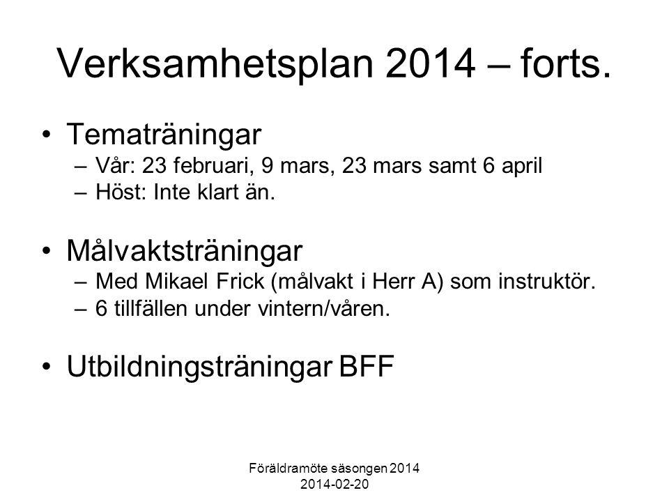 Föräldramöte säsongen 2014 2014-02-20 Verksamhetsplan 2014 – forts.