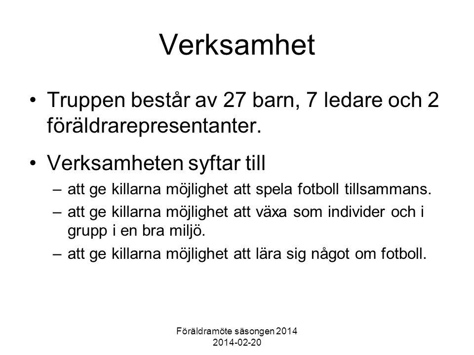 Föräldramöte säsongen 2014 2014-02-20 Verksamhet Truppen består av 27 barn, 7 ledare och 2 föräldrarepresentanter.
