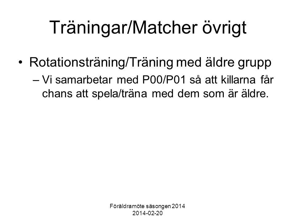 Föräldramöte säsongen 2014 2014-02-20 Träningar/Matcher övrigt Rotationsträning/Träning med äldre grupp –Vi samarbetar med P00/P01 så att killarna får chans att spela/träna med dem som är äldre.
