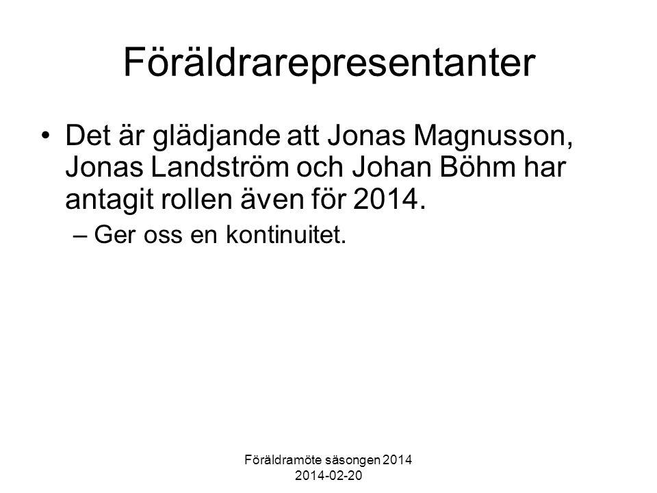 Föräldramöte säsongen 2014 2014-02-20 Föräldrarepresentanter Det är glädjande att Jonas Magnusson, Jonas Landström och Johan Böhm har antagit rollen även för 2014.