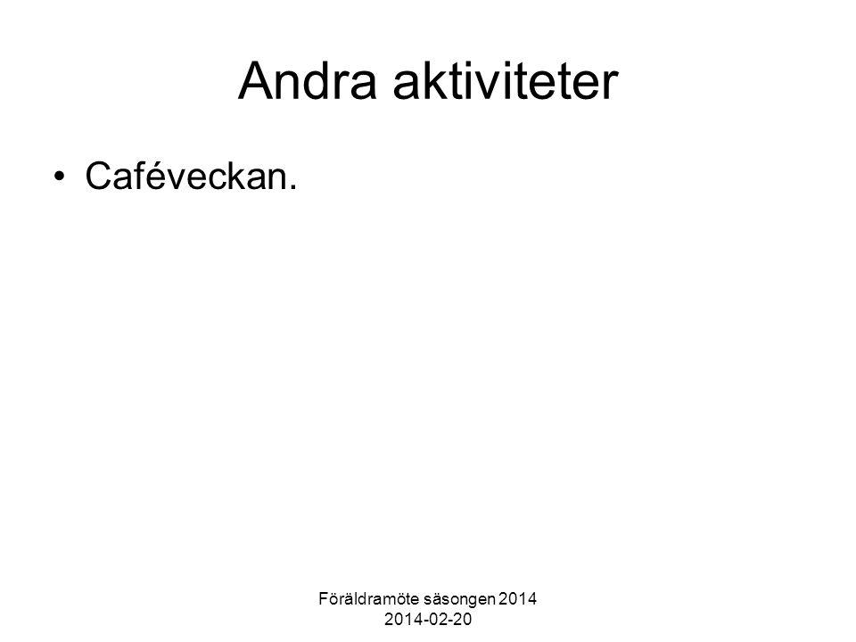 Föräldramöte säsongen 2014 2014-02-20 Andra aktiviteter Caféveckan.