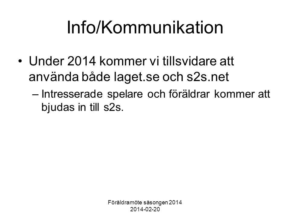 Föräldramöte säsongen 2014 2014-02-20 Info/Kommunikation Under 2014 kommer vi tillsvidare att använda både laget.se och s2s.net –Intresserade spelare och föräldrar kommer att bjudas in till s2s.
