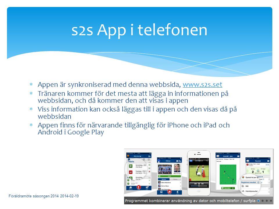  Appen är synkroniserad med denna webbsida, www.s2s.setwww.s2s.set  Tränaren kommer för det mesta att lägga in informationen på webbsidan, och då kommer den att visas i appen  Viss information kan också läggas till i appen och den visas då på webbsidan  Appen finns för närvarande tillgänglig för iPhone och iPad och Android i Google Play Föräldramöte säsongen 2014 2014-02-19 s2s App i telefonen