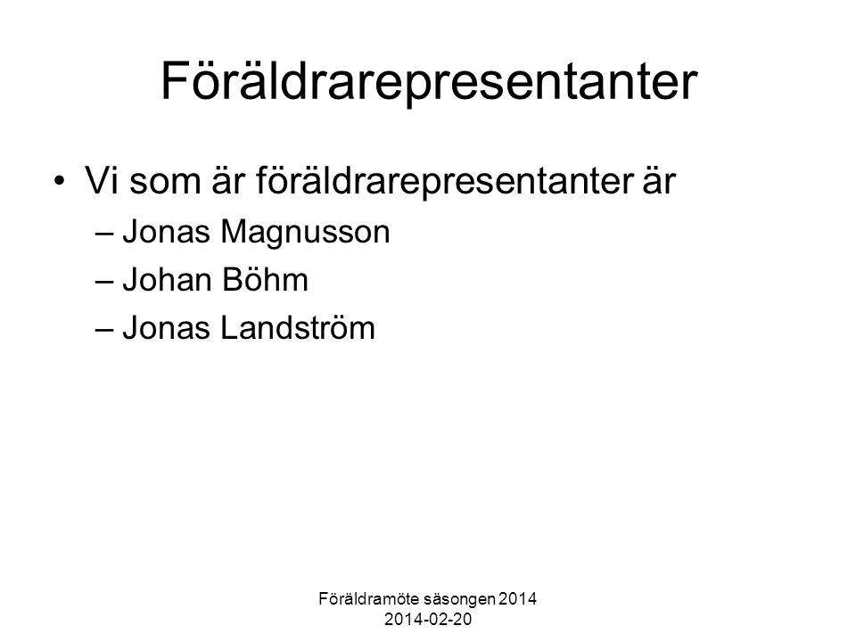Föräldramöte säsongen 2014 2014-02-20 Föräldrarepresentanter Vi som är föräldrarepresentanter är –Jonas Magnusson –Johan Böhm –Jonas Landström