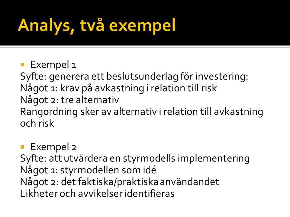 Exempel 1 Syfte: generera ett beslutsunderlag för investering: Något 1: krav på avkastning i relation till risk Något 2: tre alternativ Rangordning