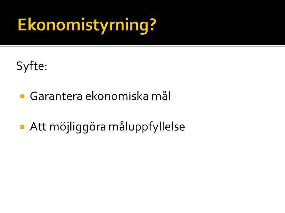 Syfte:  Garantera ekonomiska mål  Att möjliggöra måluppfyllelse