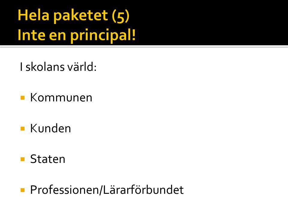 I skolans värld:  Kommunen  Kunden  Staten  Professionen/Lärarförbundet