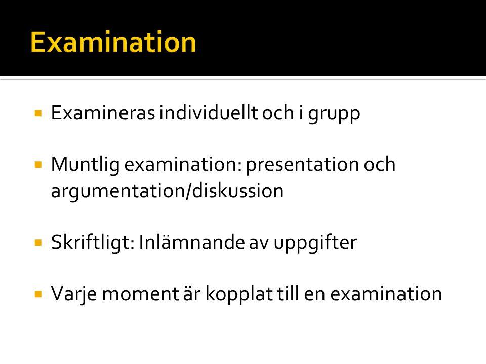  Examineras individuellt och i grupp  Muntlig examination: presentation och argumentation/diskussion  Skriftligt: Inlämnande av uppgifter  Varje m