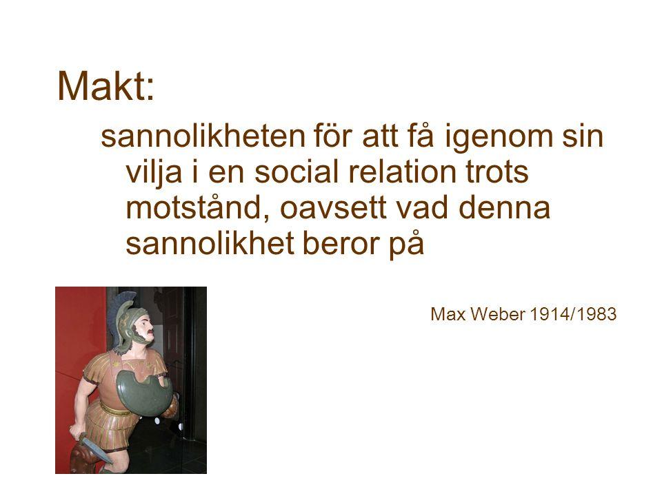 Makt: sannolikheten för att få igenom sin vilja i en social relation trots motstånd, oavsett vad denna sannolikhet beror på Max Weber 1914/1983
