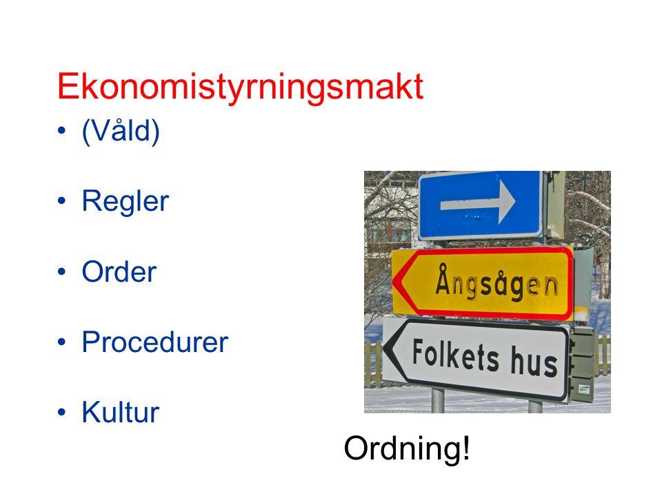 Ekonomistyrningsmakt (Våld) Regler Order Procedurer Kultur Ordning!