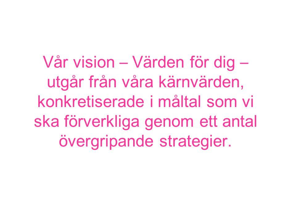 Vår vision – Värden för dig – utgår från våra kärnvärden, konkretiserade i måltal som vi ska förverkliga genom ett antal övergripande strategier.